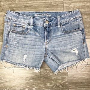 AE Hipster Cutoff Hipster Jean Shorts Raw Edges S8